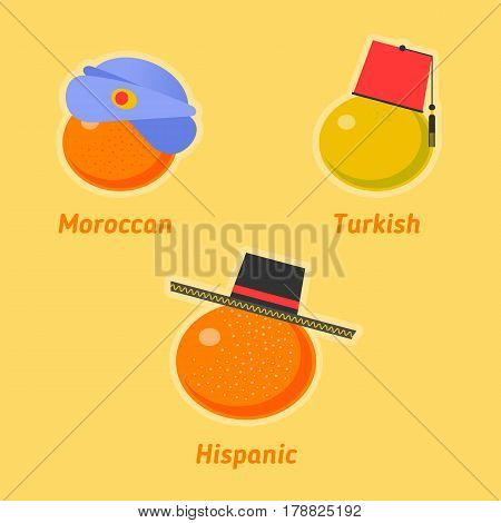 Vector flat illustration of various sorts of tangerines. Tropical healthy tasty citrus fruit icons. Sweet moroccan turkish and hispanic mandarines symbols. Import and expotr food concept.