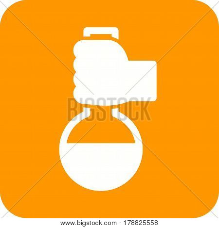 Chemistry, holding, flask icon vector image. Can also be used for chemistry. Suitable for mobile apps, web apps and print media.