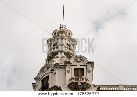 Madrid Spain - September 18 2016: Low angle view of buildings at Gran Via Street in Madrid. Dome in penthouse against cloudy sky. It is an important street in Central Madrid with shops and theaters.