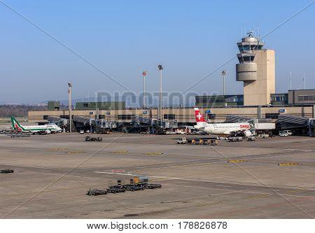 Kloten, Switzerland - 28 March, 2017: view in the Zurich airport. The Zurich Airport also known as the Kloten Airport is the largest airport in Switzerland.