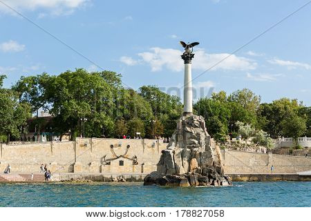 Sevastopol, Russia - June 09, 2016: Monument to the Scuttled Ships in the Severnaya Bay