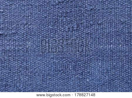 Textile Texture Close Up of Light Blue Sack or Burlap Fabric Pattern Background with Copy Space for Text Decoration.