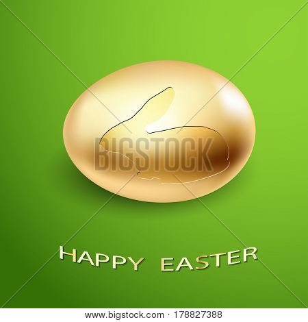 Easter Icon Golden Egg silhouette of a Rabbit on a green background. Illustration