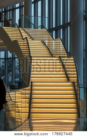 CRACOW POLAND - FEBRUARY 14 2016: Foyer with staircase. ICE Krakow Congress Center Kraków Poland. Architect: Ingarden & Ewy Ararta Isozaki