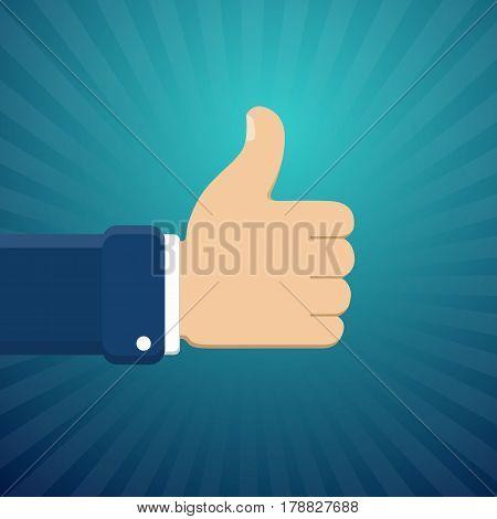 Thumb Up Symbol, Finger Up Vector Illustration. Like Gesture Hand