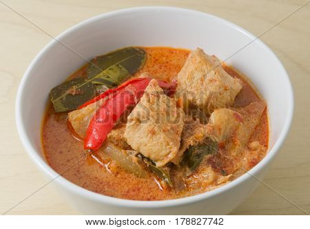 Vegan Food A Delicious Thai Spicy Red Curry with Textured Vegetable Protein Pineapple and Coconut Milk.