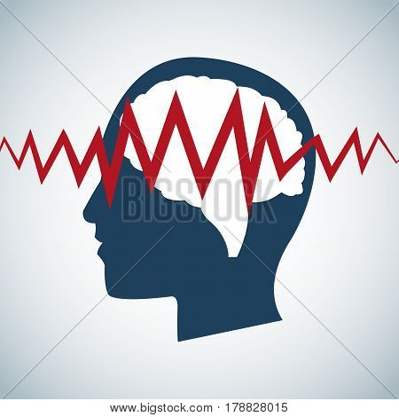 human head brain pulse care vector illustration eps 10