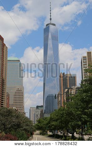 NEW YORK - AUGUST 8, 2014: Freedom Tower in Lower Manhattan. One World Trade Center is the tallest building in the Western Hemisphere and the third-tallest building in the world