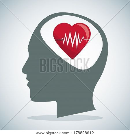 human head brain heartbeat care vector illustration eps 10