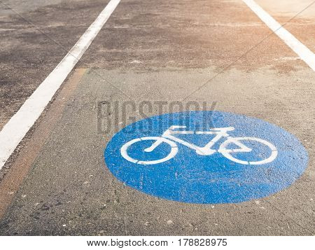 Bicycle lane signage on street safety symbol outdoor