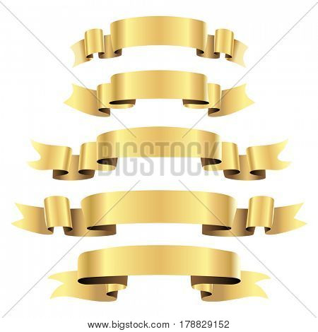 Gold Ribbons isolated on white background. illustration.
