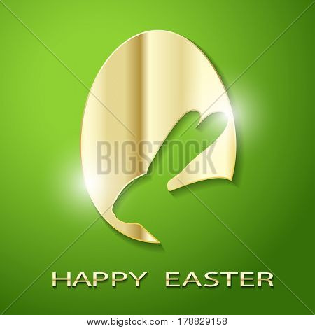 Easter Golden Egg silhouette of a Rabbit on a green background. Icon Illustration