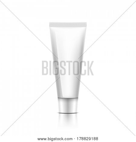white Cosmetic Bottle of Cream on pink background. Illustration