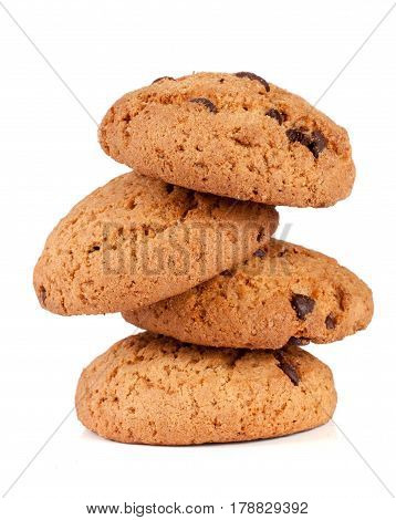 Oatmeal cookies with chocolate isolated on white background.