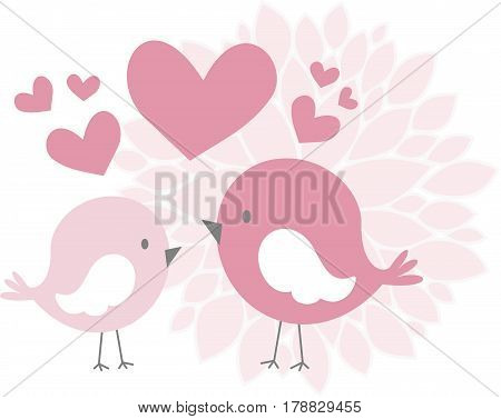 cute love birds with hearts and abstract dahlia flower isolated on white background