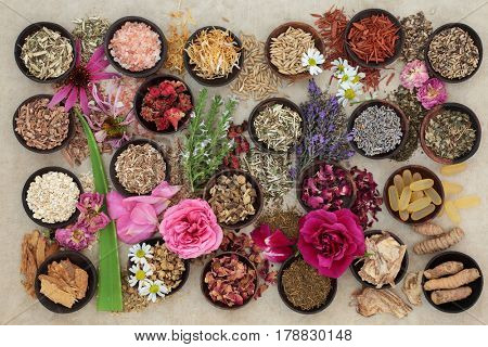 Herb and flower  selection used in herbal medicine to heal skin disorders such as psoriasis and eczema on hemp paper background.