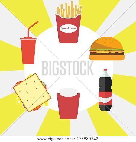 French fries hamburger cola. Flat design vector illustration vector.