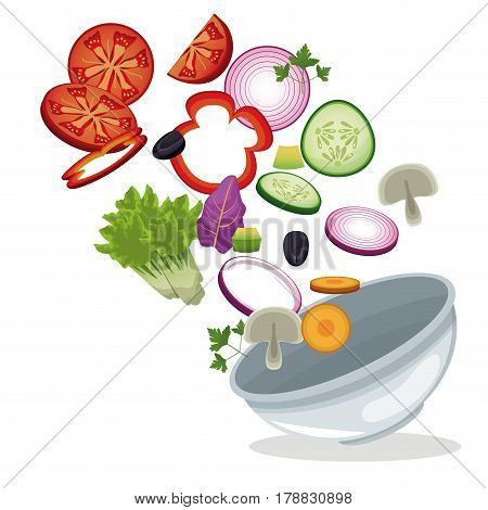 bowl salad vegetables lunch meal image vector illustration eps 10