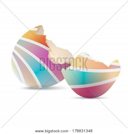 Broken easter egg shell. An empty eggshell cracked on white background. Vector illustration.
