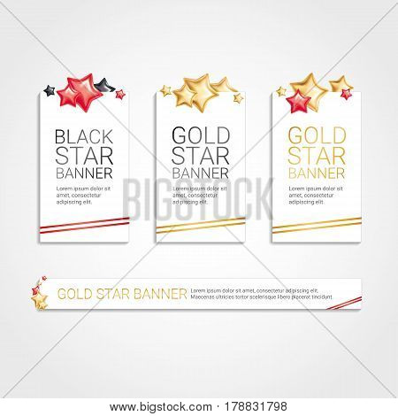 Gold Red Banner Star Background