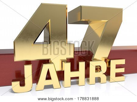 Golden digit forty seven and the word of the year. Translated from the German - years.3D illustration