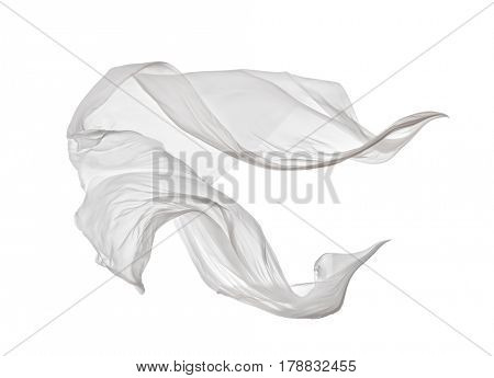 Smooth elegant white transparent cloth separated on white background. Texture of flying fabric.