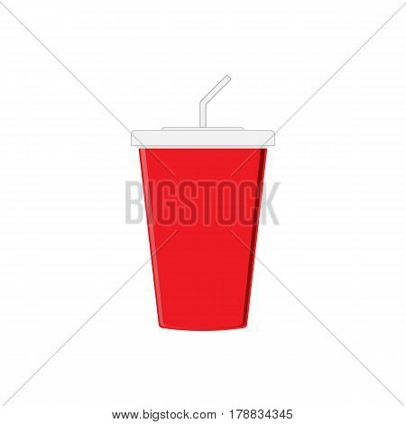 Red paper cup template for soda or cold beverage with drinking straw, isolated on white background.