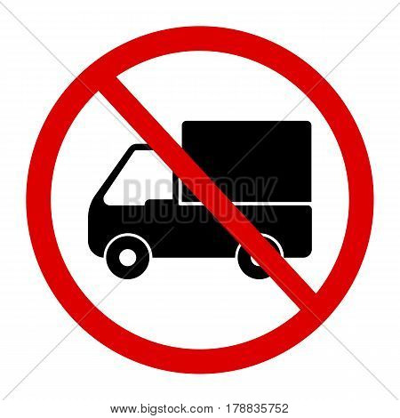 No truck or no parking sign.prohibit sign .vector illustration.
