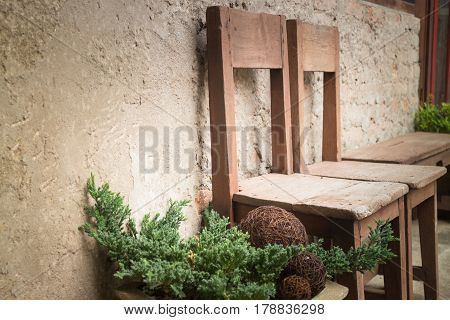 Vintage Wooden Chairs In Home Garden stock photo