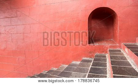 Old Vintage Red Stone Steps Of Malacca Art Gallery At Dutch Square The Historical City Centre In Mal
