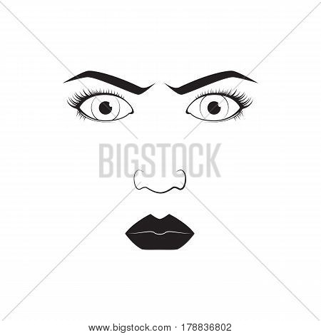 Girl emotion face angry cartoon vector illustration and woman emoji icon cute symbol character human expression sign female avatar tongue feeling. Facial mood doodle design black whithe line.