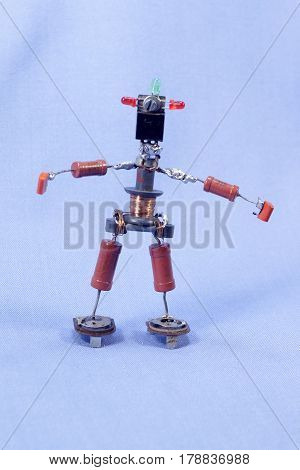 homemade puppet man of the electronic components