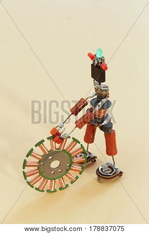 toy man from old radio parts wheels wheel