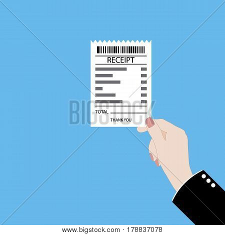 Hand holding receipt vector flat illustration on color background.