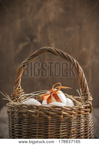 Easter Eggs In The Wattled Basket