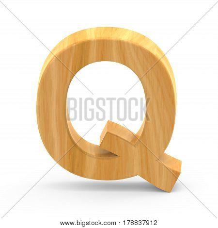 Wooden Grain Letter Q