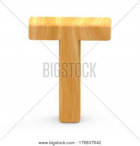 Wooden Grain Letter T