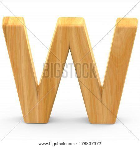 Wooden Grain Letter W