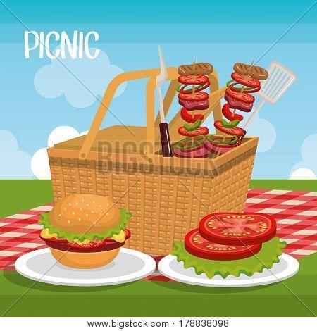 delicious picnic scene icons vector illustration design