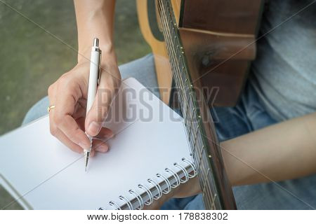 Music Composer Hand Writing Songs stock photo