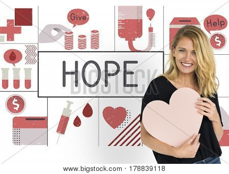 Woman Show Blood Donation Placard Graphic