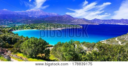 Most beautiful beaches of Crete island -Istron bay near Agios Ni