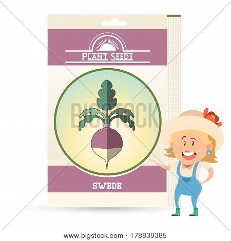 Vector image of the Pack of Swede seeds