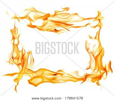 yellow flame frame isolated on white background