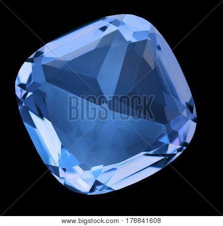 blue sapphire isolated on black background