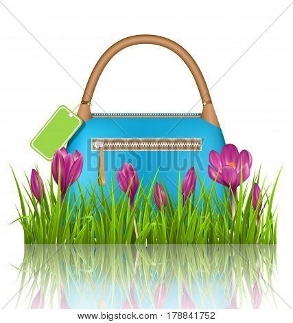 Blue woman spring bag with crocuses flowers and sale label in grass lawn with reflection on white background
