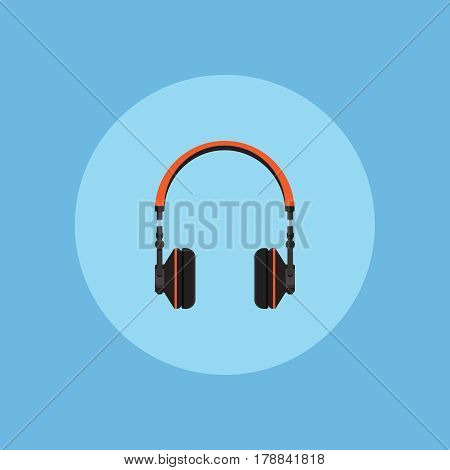 Headphones on blue background vector concept. Headset illustration in modern flat style. Color picture for design web site, web banner, printed material. Dj headphones icon. Earphones vector element.