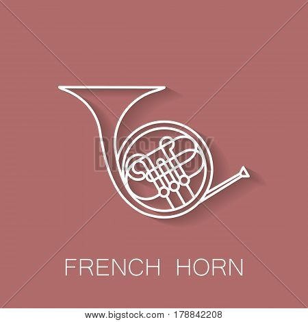 Music instrument retro line icon. French horn shape. Classic musical object. Vector decorative design background. Magazine cover. Marketing concept