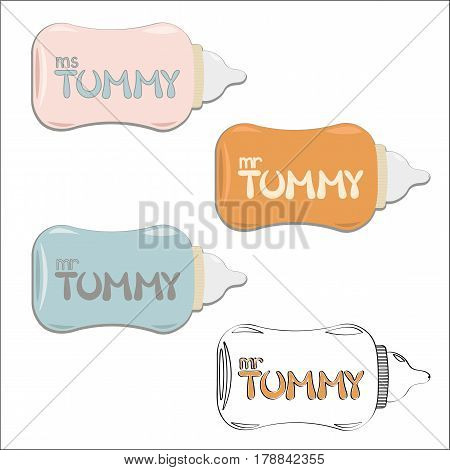 Mr and Ms Tummy lettering on baby bottles. Colors set of flat vector illustration for t-shits and logo