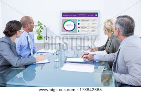 Business team looking at time clock against graphic image of bank account web site